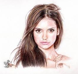 Nina Dobrev (Vampire Diaries) [Colored pencils] by chaseroflight