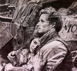 Pencil portrait of scene fr Les Miserables by chaseroflight