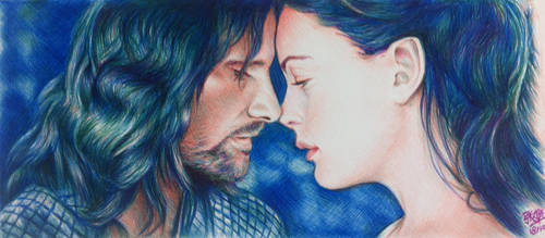 Ballpoint pen drawing of Aragorn and Arwen by chaseroflight