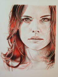 Ballpoint pen drawing of Jaimie Alexander by chaseroflight