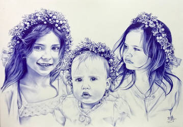 Ballpoint pen drawing of 3 beautiful little girls by chaseroflight