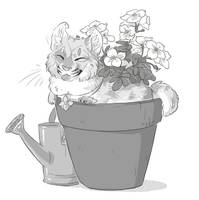 Don't forget to water your cat! - commission by Kium