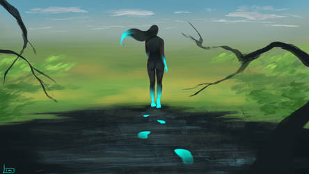 Walking In Blue by Lia-Nailo