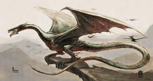 Dragon at cliff by HappyMorningStar