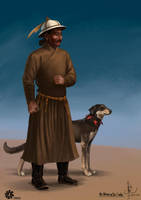 Mongol Noble with dog by HappyMorningStar