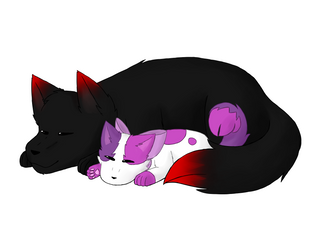 Napping wolves (Aarmau) by KittyLoveCupcake