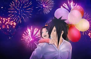 Madara with Kasumi (daughter) - Fireworks by Lesya7