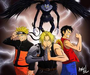 Naruto x FullMetalAlchemist x OnePiece x DeathNote by Axel9922