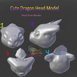 Cute dragon head model by AngelCnderDream14
