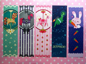 Pony, Dinosaur and Bunny Bookmarks (2012) by chiccachilli
