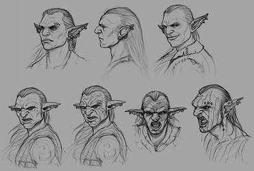 Goblin Head Sketches by PRDart