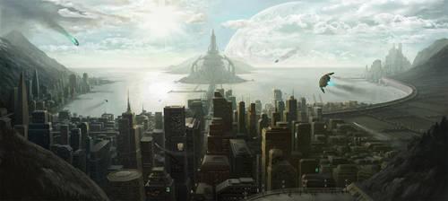 Sci fi City Illustration by PRDart