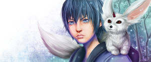 Noctis and Carbuncle by crimson-firelight