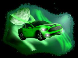 Mustang In Space + speedpaint by MidNightFlyer53