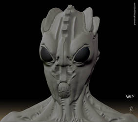 Alien bust prototype detail by PieroStuff