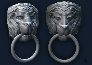 Lion door knocker by PieroStuff