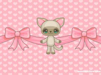 Kawaii Kitty Wallpaper by bombthemoon
