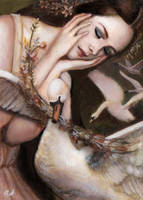 'The Wild Swans' Original ACEO by PinkParasol