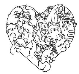 Cat Heart Doodle Lineart by ValerieGallery