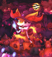 Witch Braixen in pumpkin forest by KiwiBeagle
