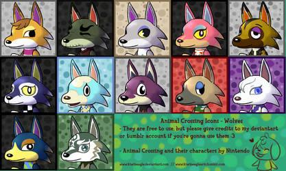 F2U] Animal Crossing Icon Set 1 - Wolves by KiwiBeagle
