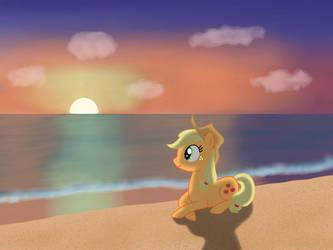 Applejack at the beach by StormDragon3