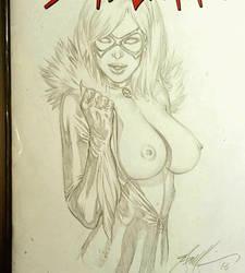 Topless pencil sketch of BlackCat by ebas