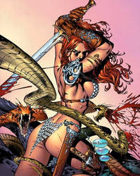Red Sonja fighting snakes by me eBas  by ebas
