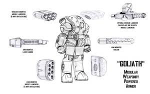 'Goliath' Modular Weaponry Powered Armor by Guilhem-Bedos