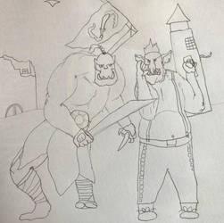 Hobgoblin telling an orc a secret by Ihsan997