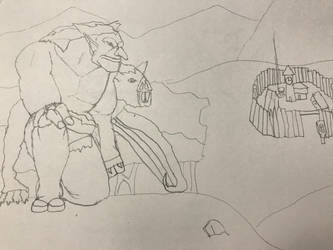 Jungle troll and giant bat stalk a town by Ihsan997