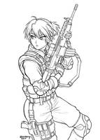 Practice soldier lineart by zwimmy