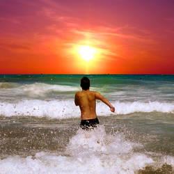 Sundown in the ocean by g0n0x