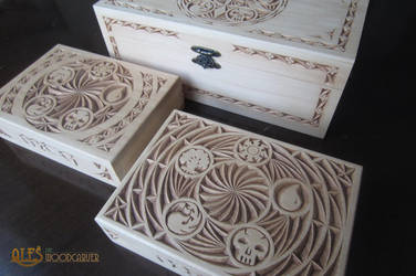 Magic the Gathering card boxes by alesthewoodcarver
