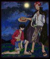 One Piece: Luffy Returns A Treasure To Shanks by hikariangelove