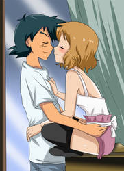 amourshipping cute nose kiss by hikariangelove