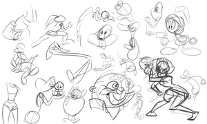 Cartoon-warmups-10-15-13 by wadedraws