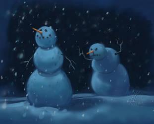 Scary snowman by KatLouhio
