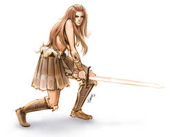 Sketch of a barbarian woman by KatLouhio