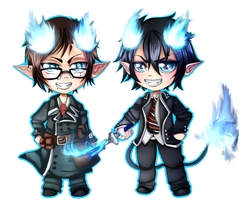 Rin and Yukio by Lynnrenk