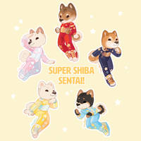 Super Shiba Sentai Stickers by CitrusFoam
