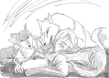 Sleeping with the pack by K-naille