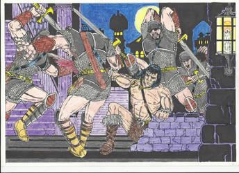 Conan vs city guardsmen by conradknightsocks