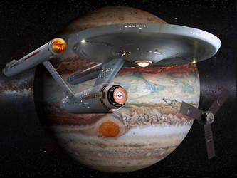 Restored Starship Enterprise Model and Juno Probe by Cannikin1701