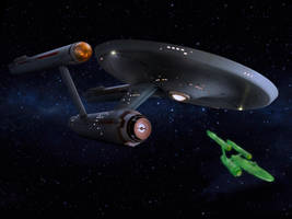 Restored Starship Enterprise Model and Defiant by Cannikin1701