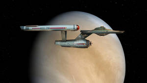 Starship Enterprise over Venus by Cannikin1701