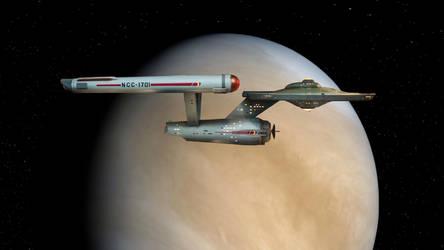 Starship Enterprise over Venus by Cannikin1701