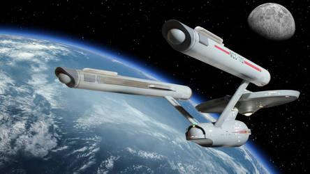 Restored Starship Enterprise Model In Orbit by Cannikin1701
