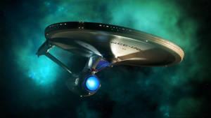 Enterprise Refit Emerging from Nebula by Cannikin1701