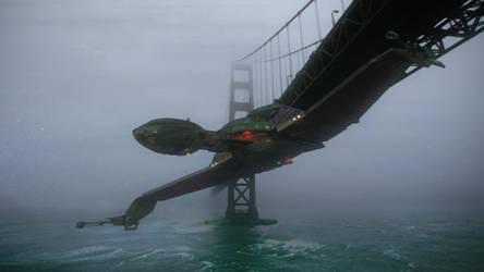 Bird of Prey under Golden Gate by Cannikin1701